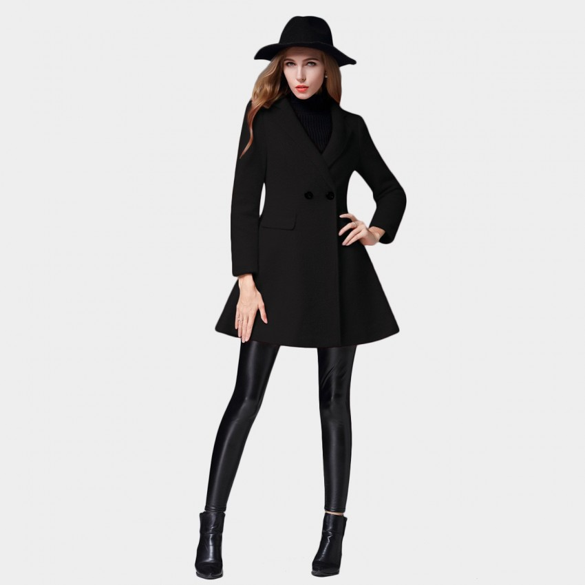 SSXR Flared Bottom Casual Simple Single Button Black Coat (4342)