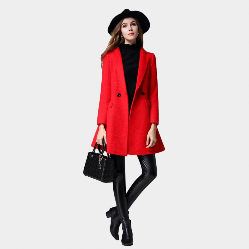 SSXR Flared Bottom Casual Simple Single Button Red Coat (4342)