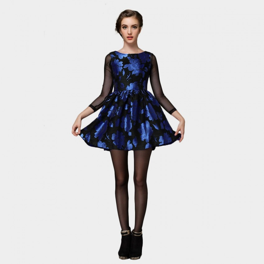 Buy SSXR Dazzling See-Through Sleeve Raffled Doll Blue Dress online, shop SSXR with free shipping