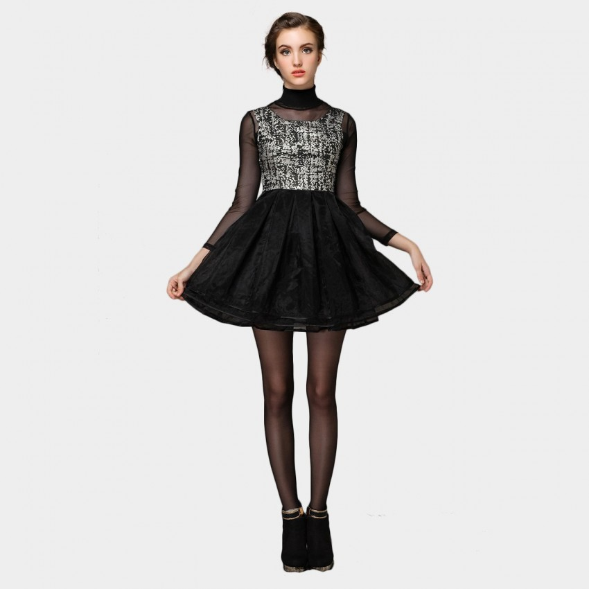 Buy SSXR Textured See-Through Sleeves Doll Black Dress online, shop SSXR with free shipping