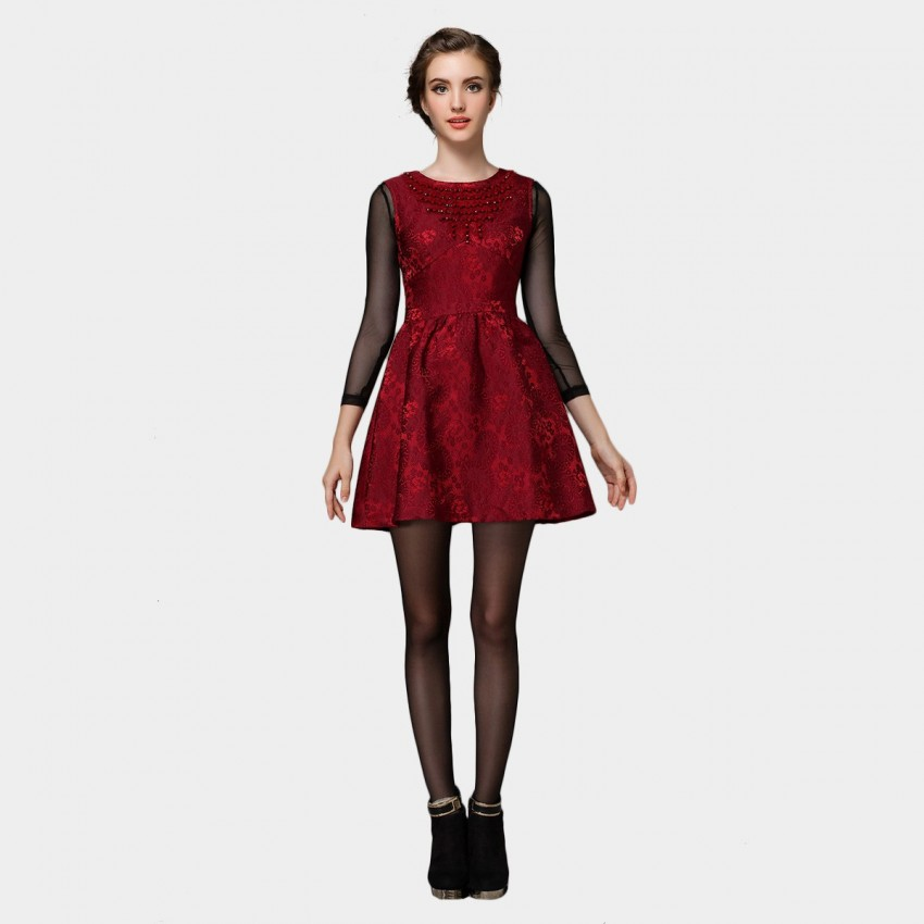 Buy SSXR Posh Patterned Gemmed One Piece Wine Dress online, shop SSXR with free shipping