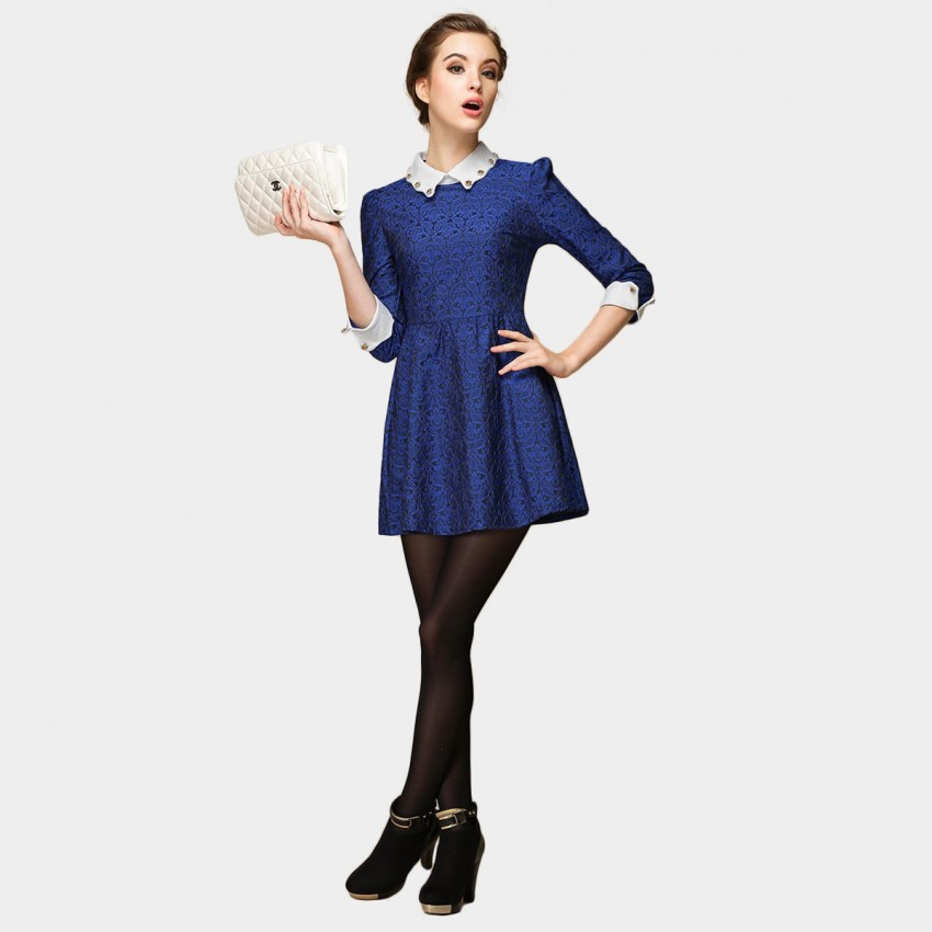 Buy SSXR Stud Wavy Cut Collar Velvet 7 Inch Sleeved Blue Dress online, shop SSXR with free shipping