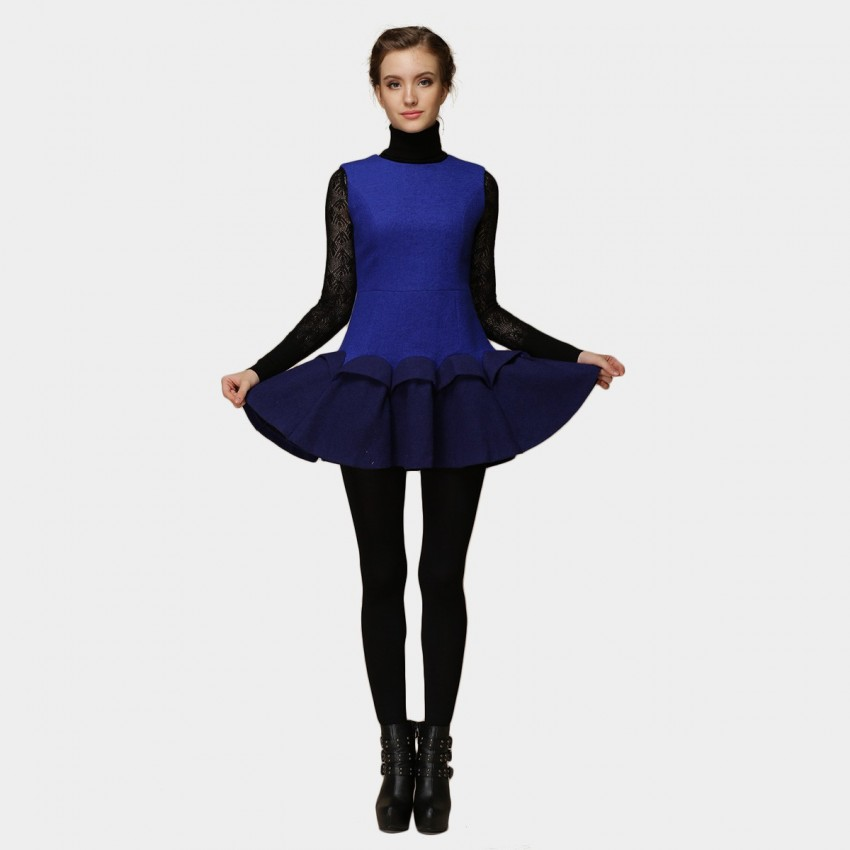 Buy SSXR Layered Trumpet Bottom Plain Blue Dress online, shop SSXR with free shipping