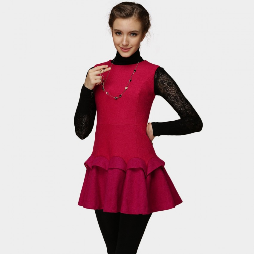 Buy SSXR Layered Trumpet Bottom Plain Rose Dress online, shop SSXR with free shipping