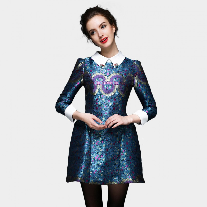 Buy SSXR Exotic Floral Satin 9 Inch Sleeved Blue Dress online, shop SSXR with free shipping
