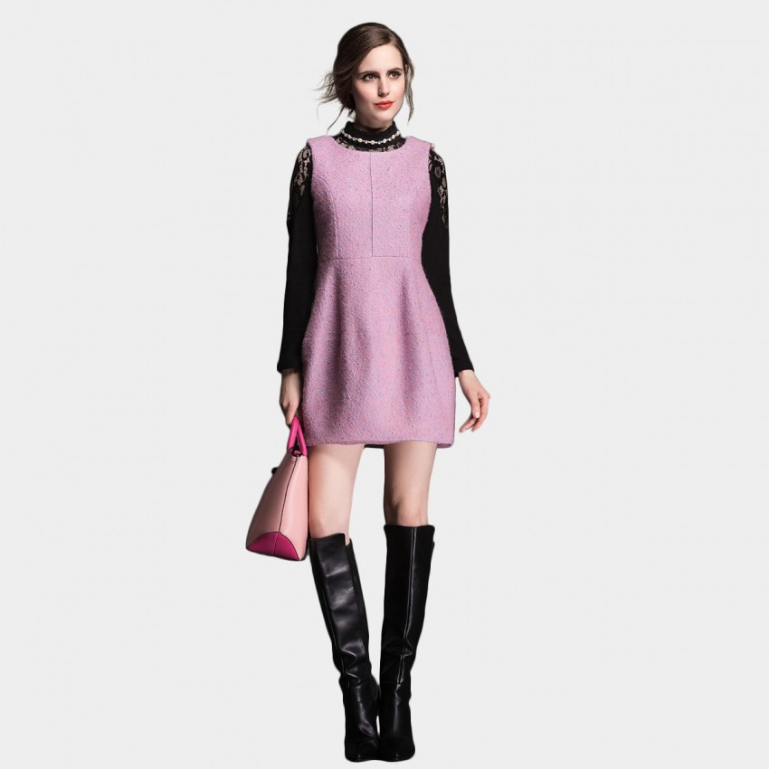 Buy SSXR Enhanced Woven Wool Textured One Piece Pink Dress online, shop SSXR with free shipping