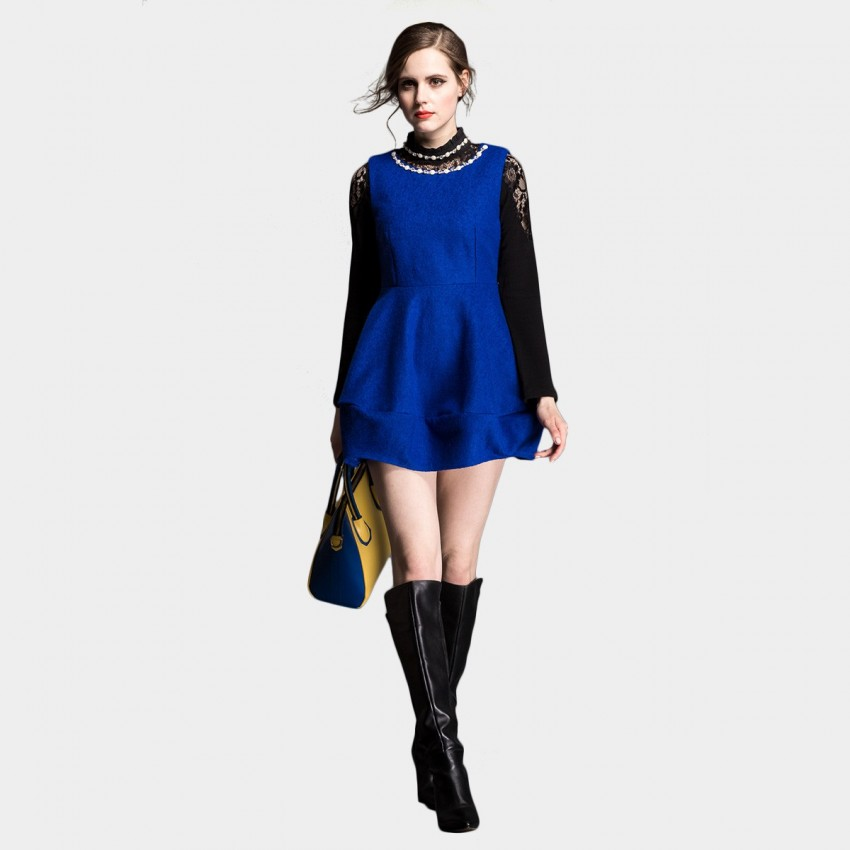Buy SSXR Wool Textured Bell Shape Bottom One Piece Mini Plain Blue Dress online, shop SSXR with free shipping