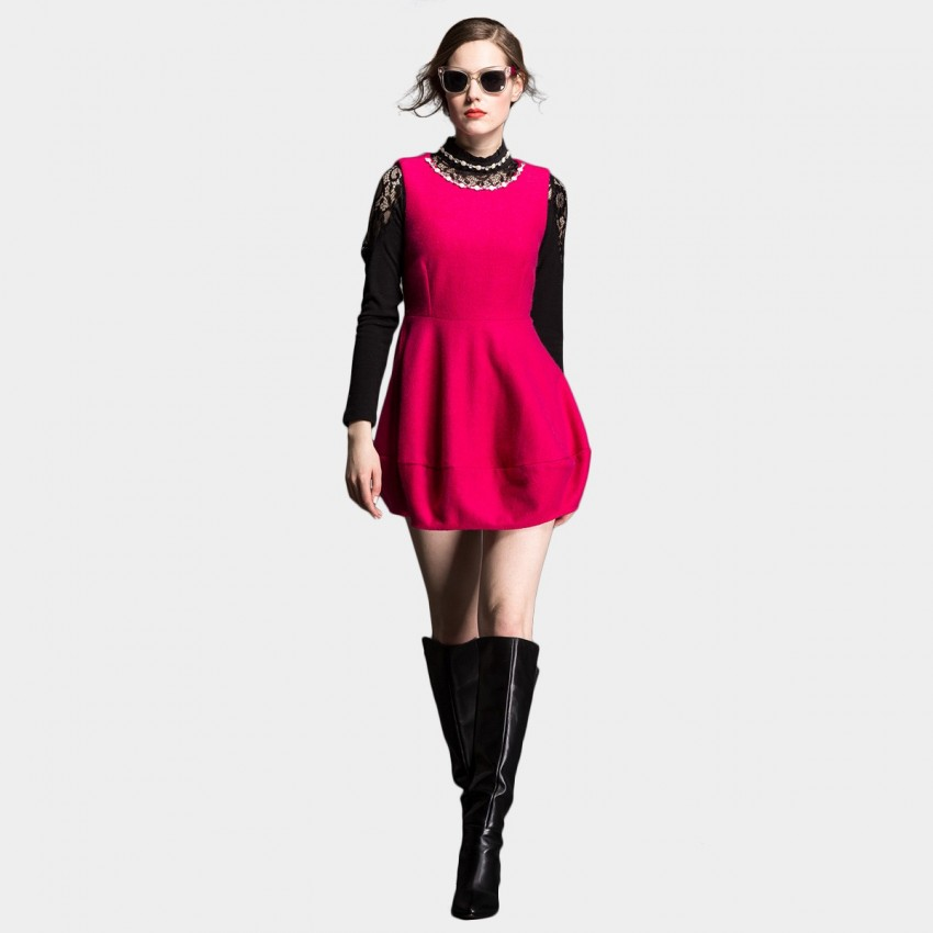 Buy SSXR Wool Textured Bell Shape Bottom One Piece Mini Plain Rose Dress online, shop SSXR with free shipping