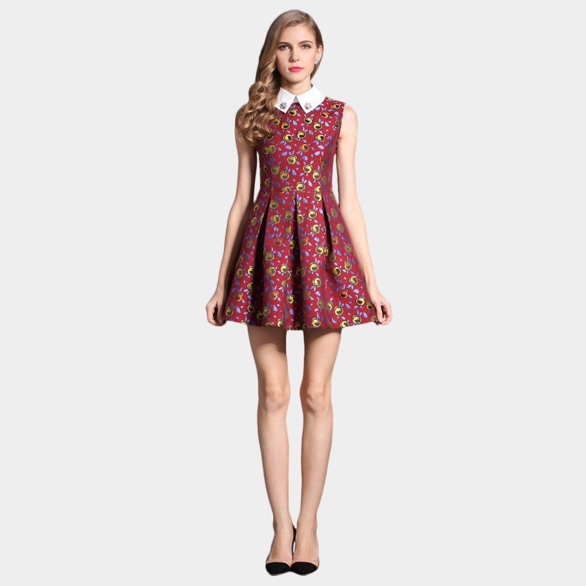 Buy SSXR Rainbow Roses Embroidered Collar Mini Red Dress online, shop SSXR with free shipping