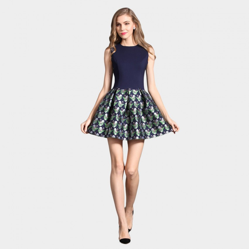 Buy SSXR Swan Lake Pattern Print Mini Blue Dress online, shop SSXR with free shipping