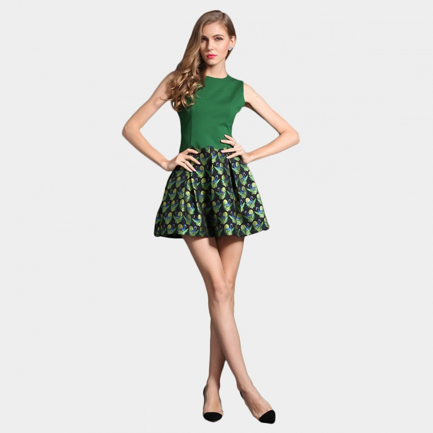 Buy SSXR Swan Lake Pattern Print Mini Green Dress online, shop SSXR with free shipping