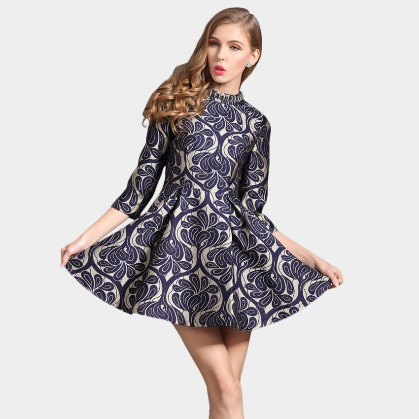 Buy SSXR Patterned Satin Crew Neck 7 Inch Sleeved Mini Blue Dress online, shop SSXR with free shipping
