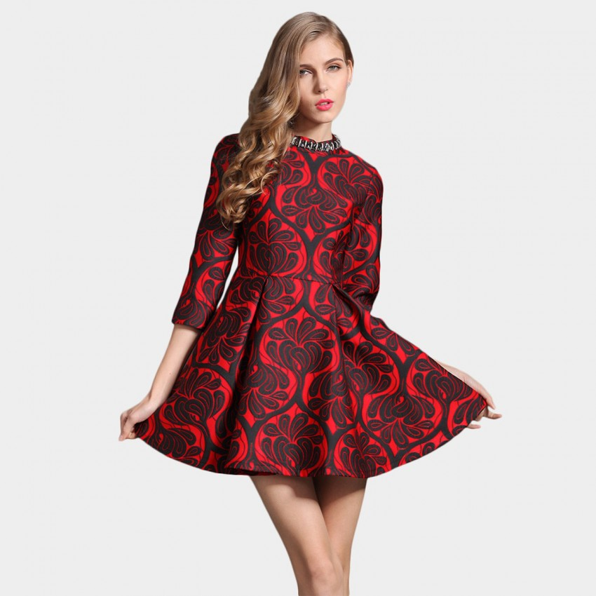 Buy SSXR Patterned Satin Crew Neck 7 Inch Sleeved Mini Red Dress online, shop SSXR with free shipping