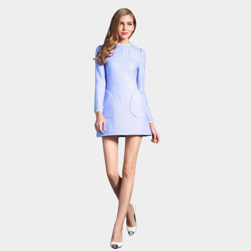 SSXR Enhanced Woven Wool Textured Round Neck Pocket Blue Dress (5182)