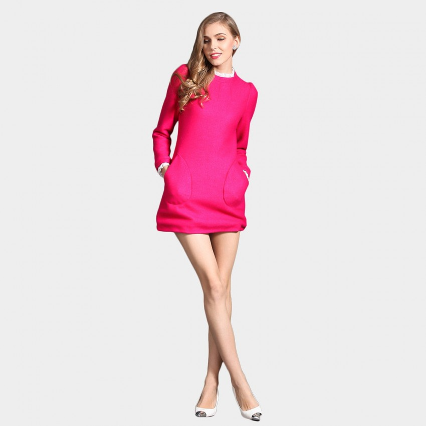 Buy SSXR Enhanced Woven Wool Textured Round Neck Pocket Rose Dress online, shop SSXR with free shipping
