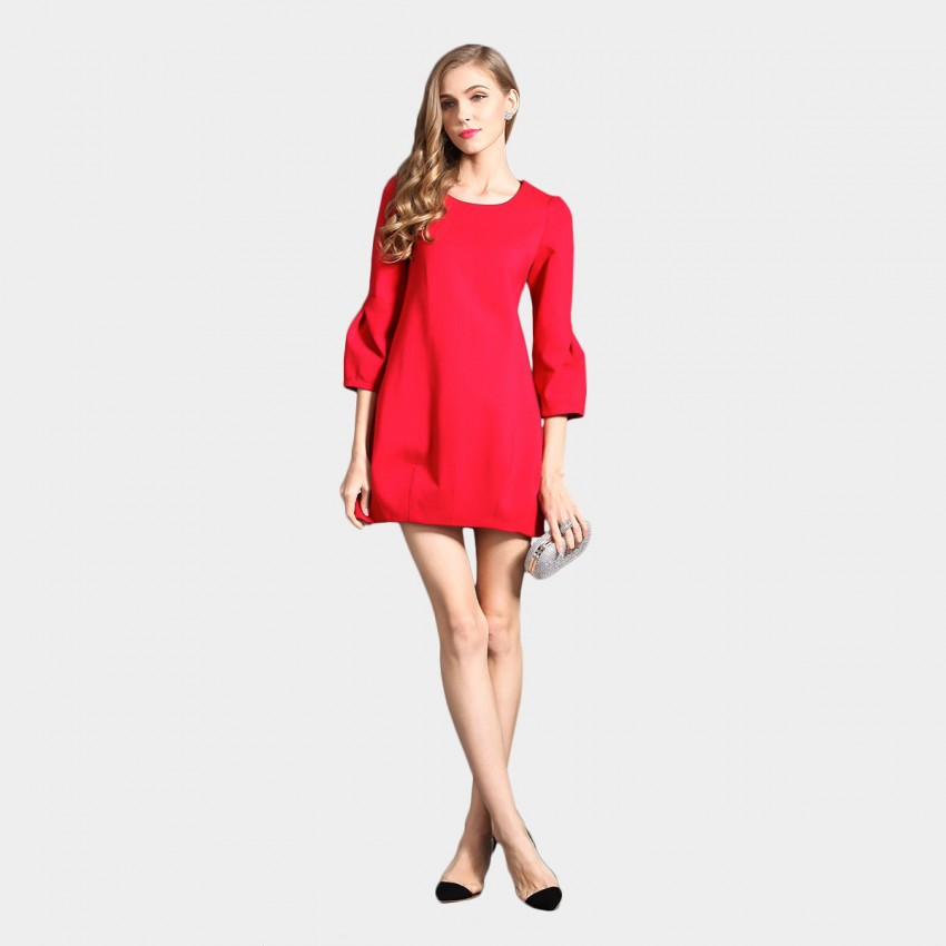 Buy SSXR Round Neck Puffed 7 Inch Sleeved One Piece Mini Red Dress online, shop SSXR with free shipping