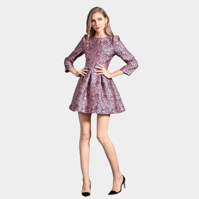 Buy SSXR Fancy Rose Patterned Satin Mini Pink Dress online, shop SSXR with free shipping