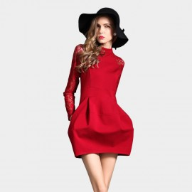 SSXR Laced Sleeves Ring Neck Body Con Mini Red Dress (5186)