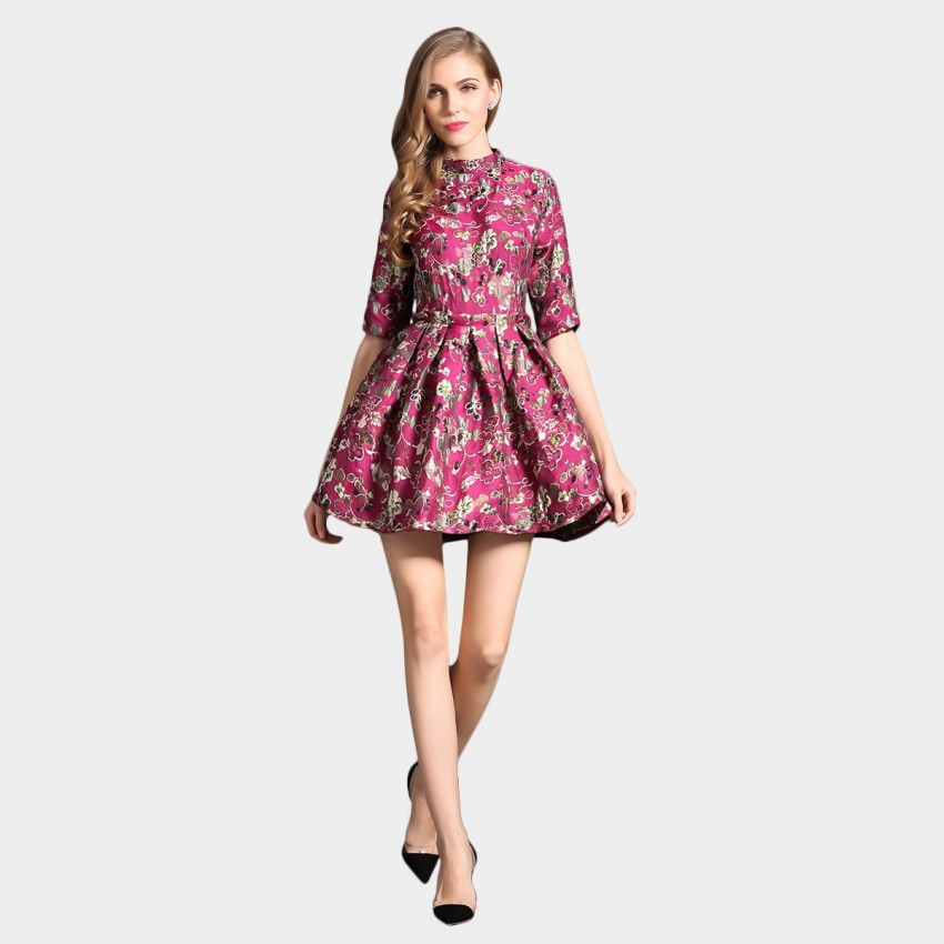 Buy SSXR Raffled Mid Sleeved Plum Blossoms Red Dress online, shop SSXR with free shipping