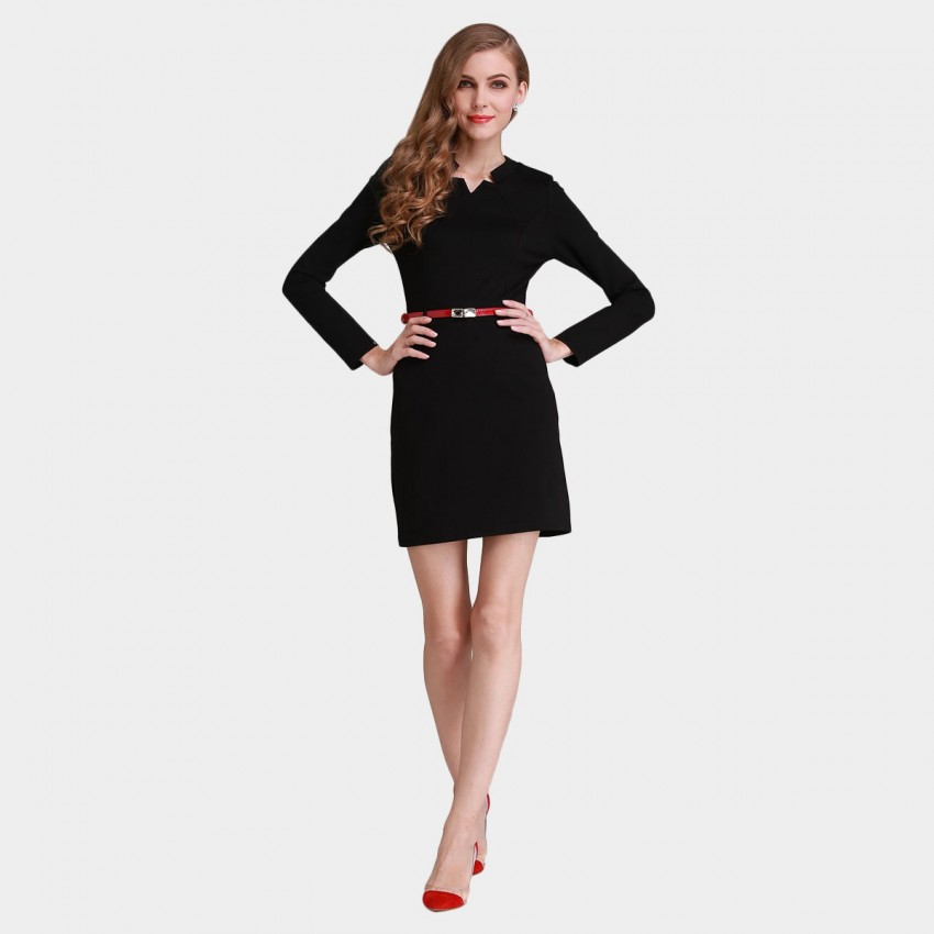 Buy SSXR Star Cut Neck Slim Fit Long Sleeved Blue Dress online, shop SSXR with free shipping