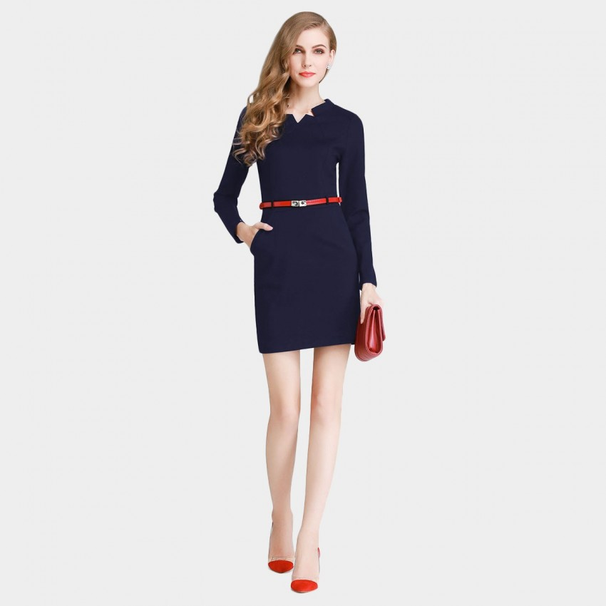 Buy SSXR Star Cut Neck Slim Fit Long Sleeved Navy Dress online, shop SSXR with free shipping