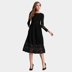 SSXR Lace Layers Long Sleeved Knee Length Black Dress (5251)