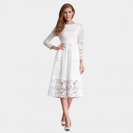 SSXR Lace Layers Long Sleeved Knee Length White Dress (5251)