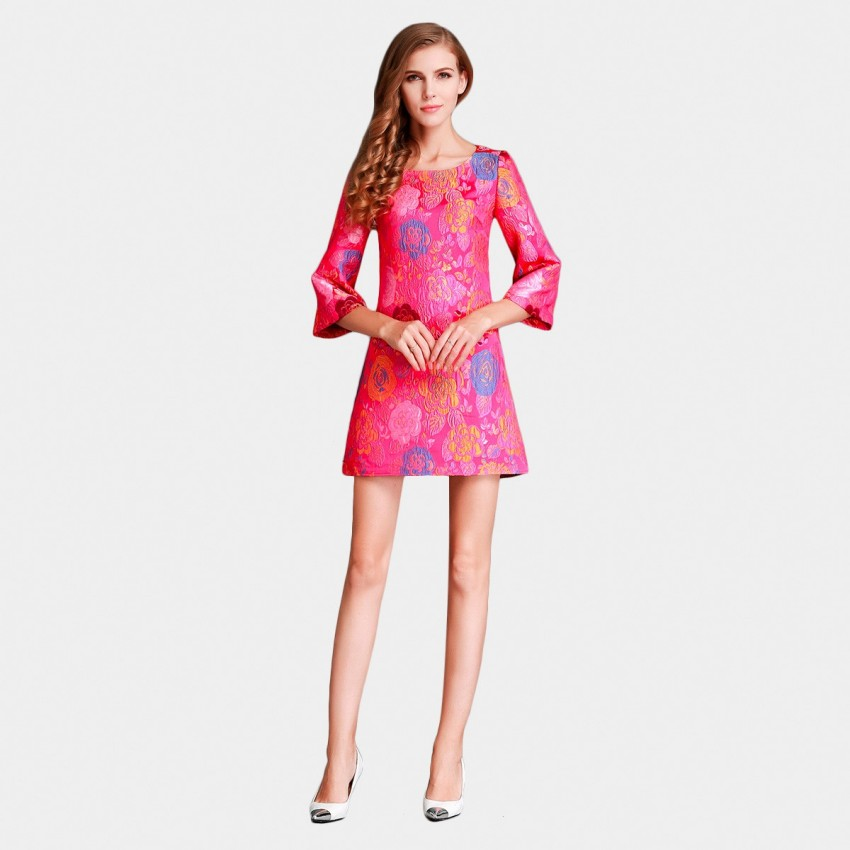 Buy SSXR Blossoms Embroidery Wide Sleeves Mini Rose Dress online, shop SSXR with free shipping