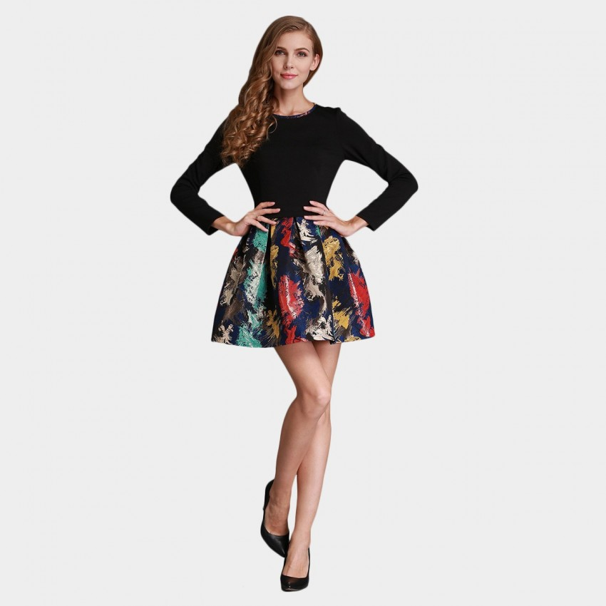 SSXR Painting Palette Contrast Mini Black Dress (5253)
