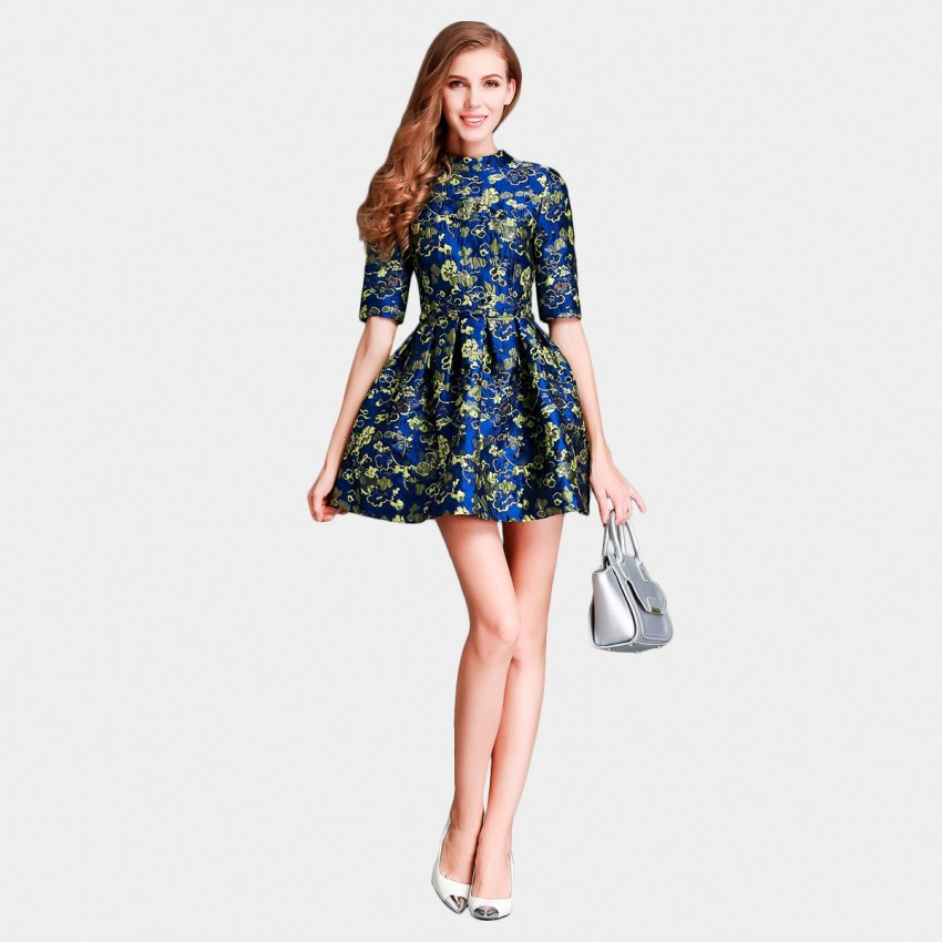 Buy SSXR China Chic Mid Sleeved Mini Blue Dress online, shop SSXR with free shipping