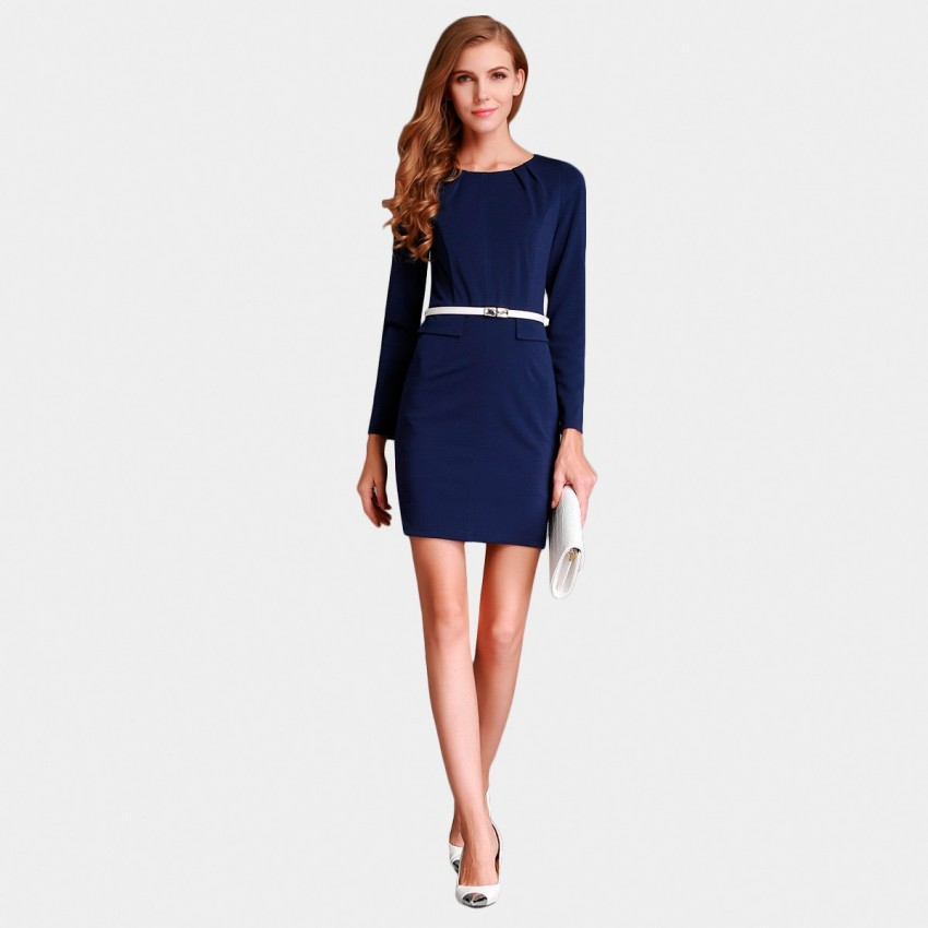 Buy SSXR Long Sleeved Pocket Body Con Navy Dress online, shop SSXR with free shipping