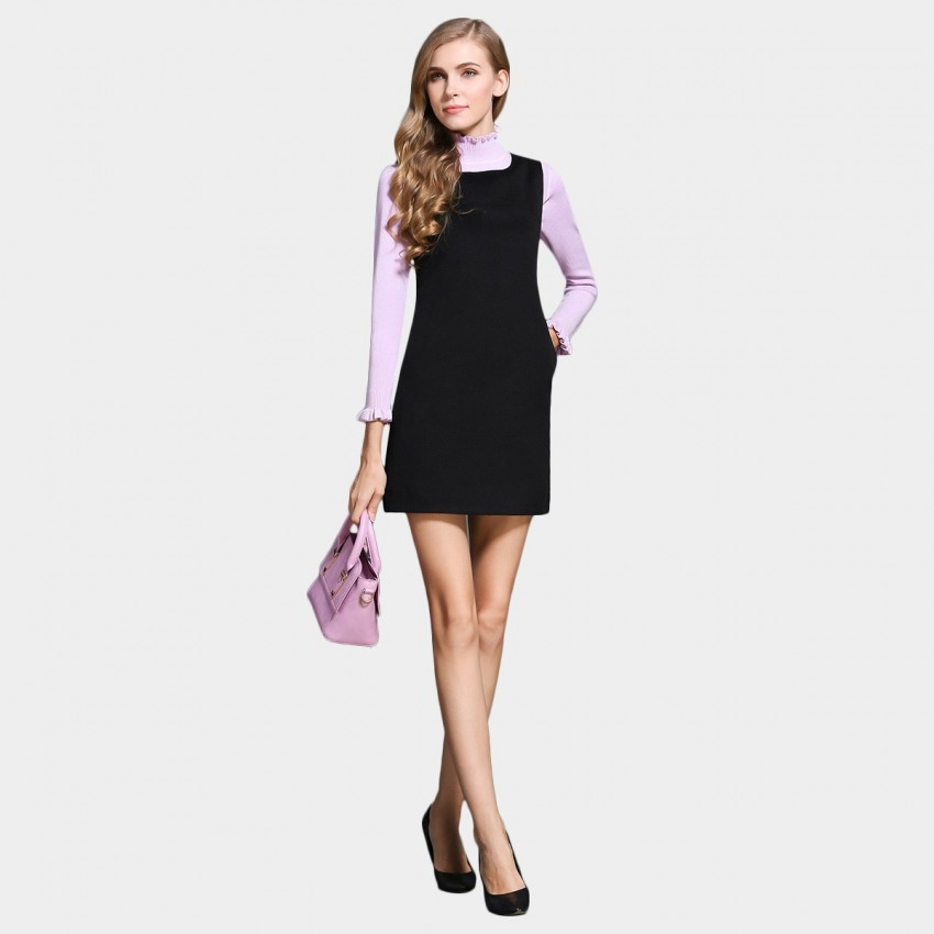 Buy SSXR Square Neck Vest Black Dress online, shop SSXR with free shipping