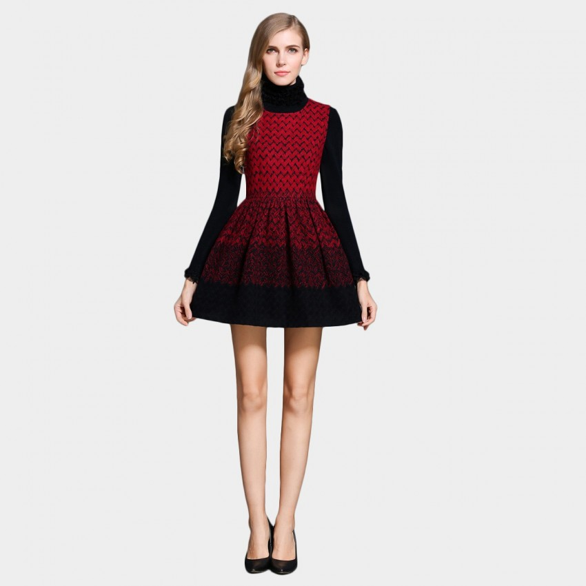 Buy SSXR Gradient Zig Zag A Line Red Dress online, shop SSXR with free shipping