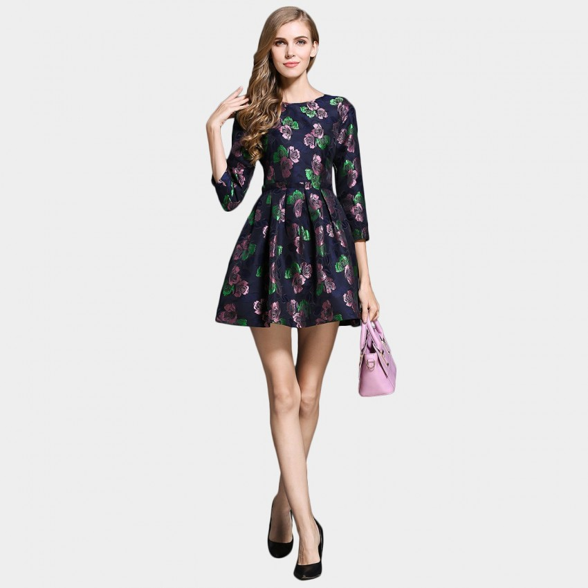 Buy SSXR Satin Rose Patterned Navy Dress online, shop SSXR with free shipping