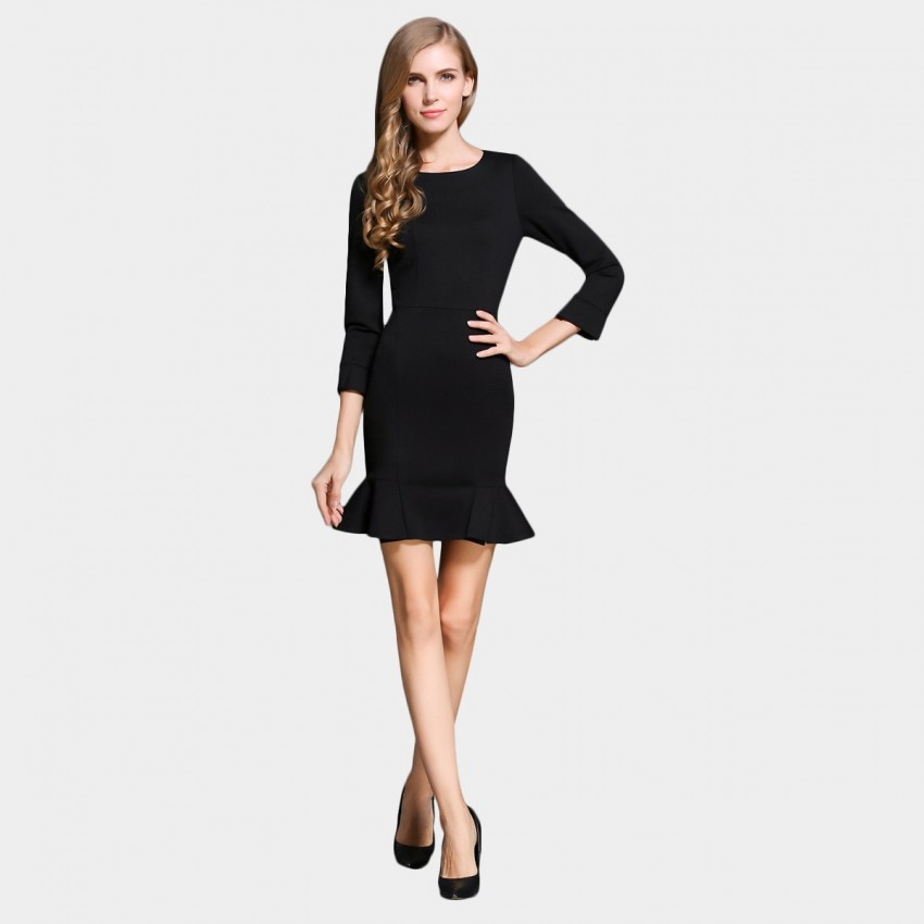 Buy SSXR Body Con Trumpet Sleeves And Bottom Black Dress online, shop SSXR with free shipping