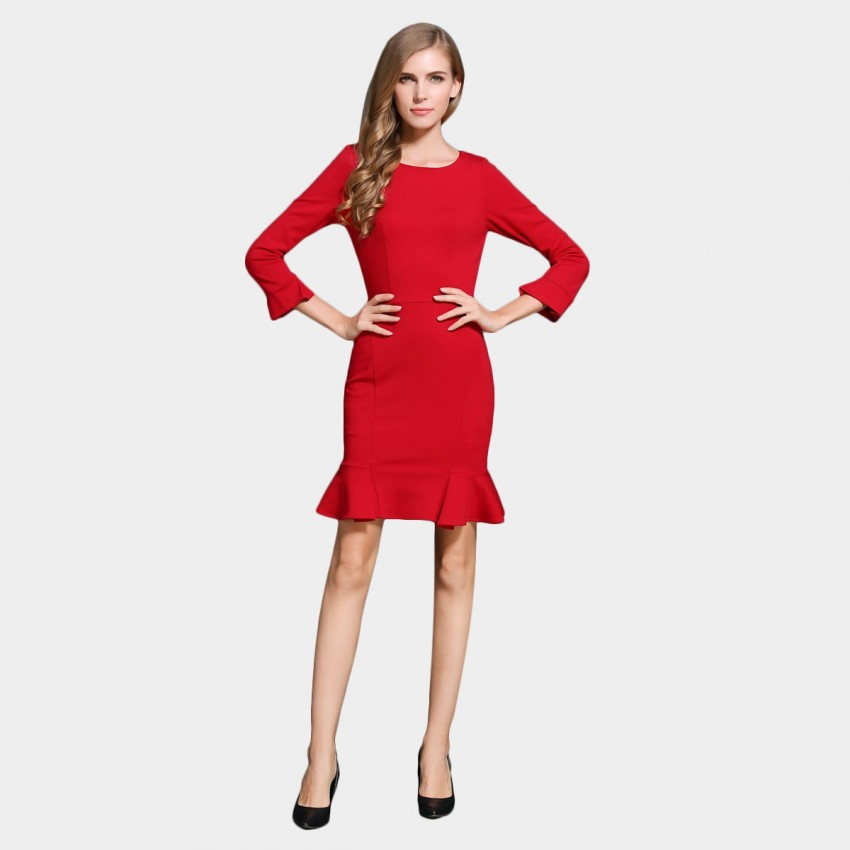 Buy SSXR Body Con Trumpet Sleeves And Bottom Red Dress online, shop SSXR with free shipping