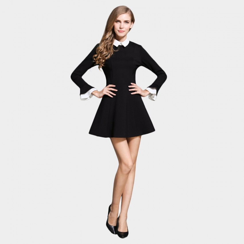 SSXR Contrast Collar And Cuffs Long Sleeved A Line Black Dress (5283)
