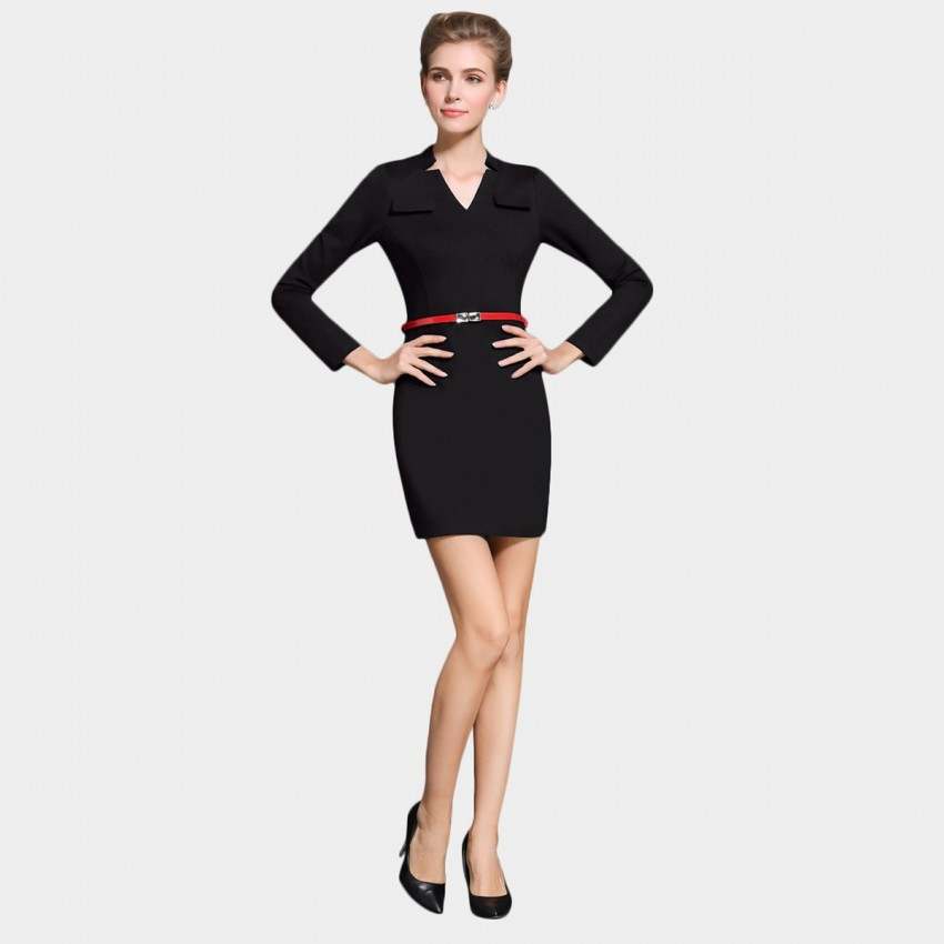 Buy SSXR Body Con Long Sleeved Chest Pocket Black Dress online, shop SSXR with free shipping