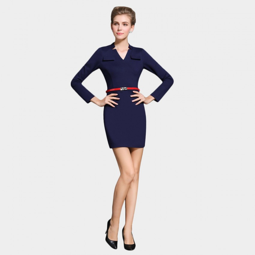Buy SSXR Body Con Long Sleeved Chest Pocket Navy Dress online, shop SSXR with free shipping