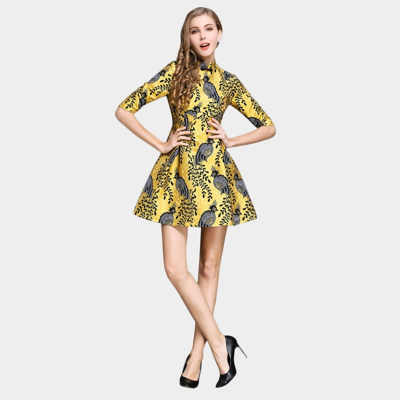 SSXR Peacock Satin Mid Sleeved Yellow Dress (5298)