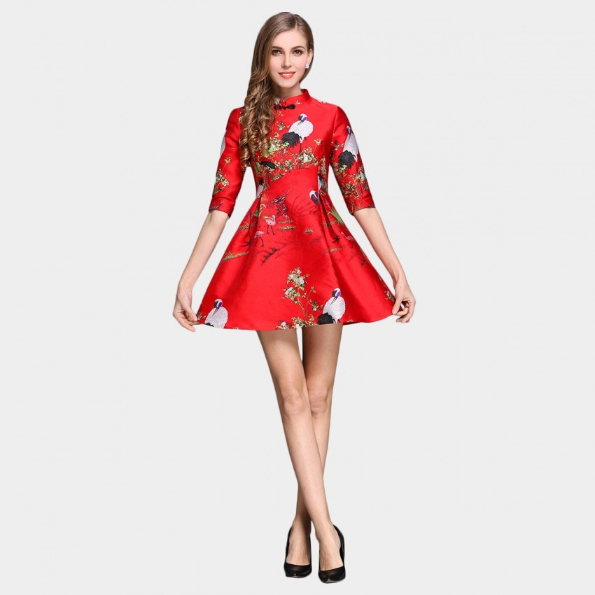 Buy SSXR China Chic Flamingos Water Painting Satin Mid Sleeved Red Dress online, shop SSXR with free shipping
