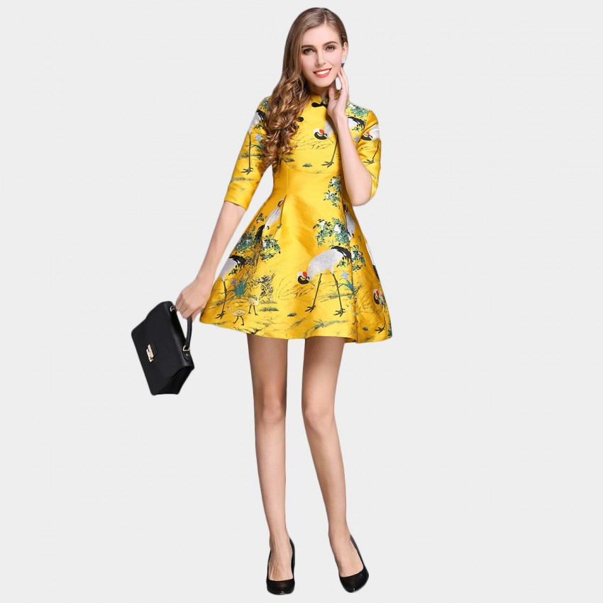 Buy SSXR China Chic Flamingos Water Painting Satin Mid Sleeved Yellow Dress online, shop SSXR with free shipping