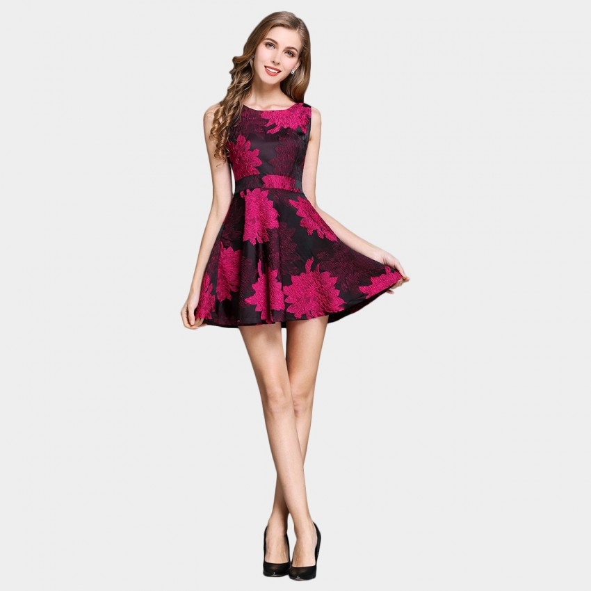 Buy SSXR Peony Embroidery One Piece Rose Dress online, shop SSXR with free shipping