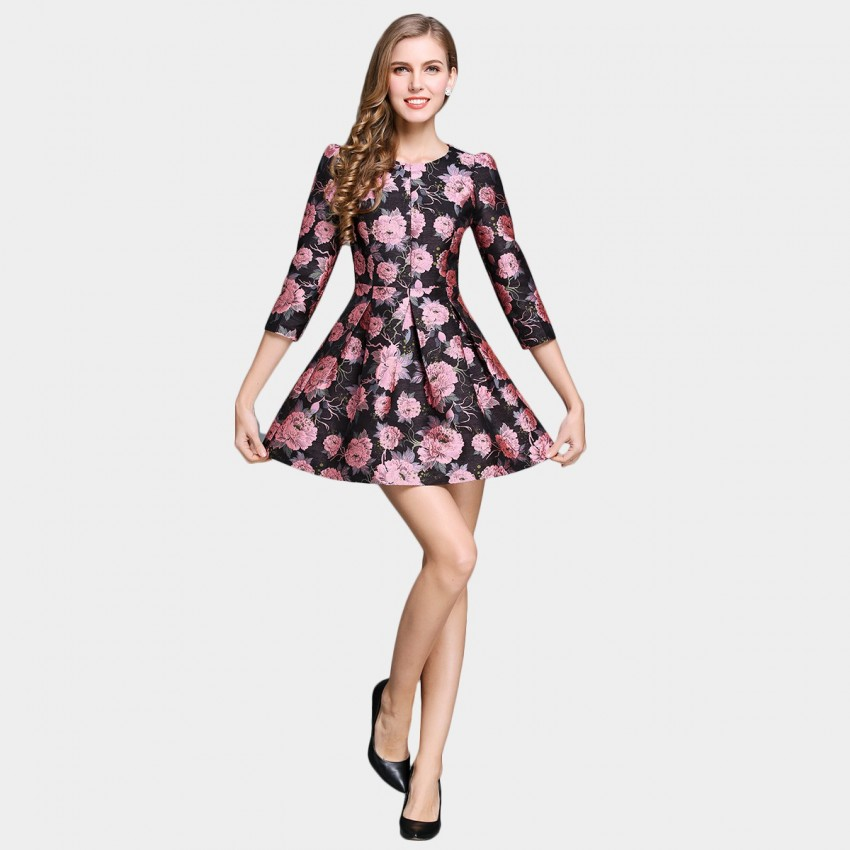 Buy SSXR Peony At Night Puff Shoulder Pink Dress online, shop SSXR with free shipping