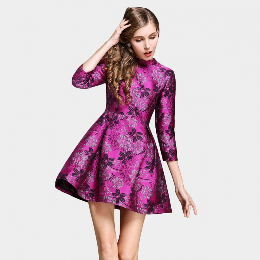 Buy SSXR Sakura Embroidery 7 Inch Sleeved Rose Dress online, shop SSXR with free shipping