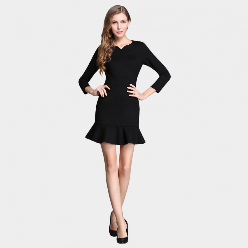 Buy SSXR Body Con 9 Inch Sleeved Trumpet Bottom Black Dress online, shop SSXR with free shipping