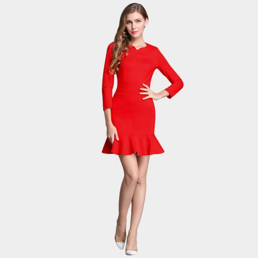 Buy SSXR Body Con 9 Inch Sleeved Trumpet Bottom Red Dress online, shop SSXR with free shipping