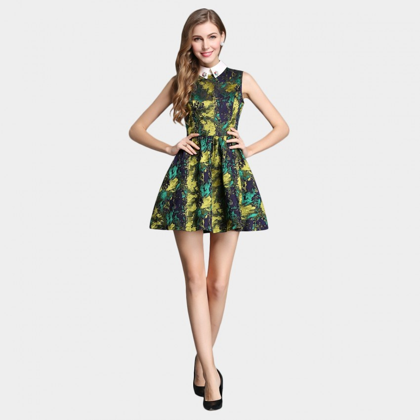 Buy SSXR Palette Ornamented Collar A Line Green Dress online, shop SSXR with free shipping
