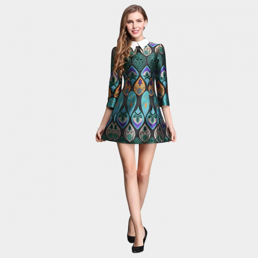 Buy SSXR Printed Satin Mid Sleeved A Line Green Dress online, shop SSXR with free shipping
