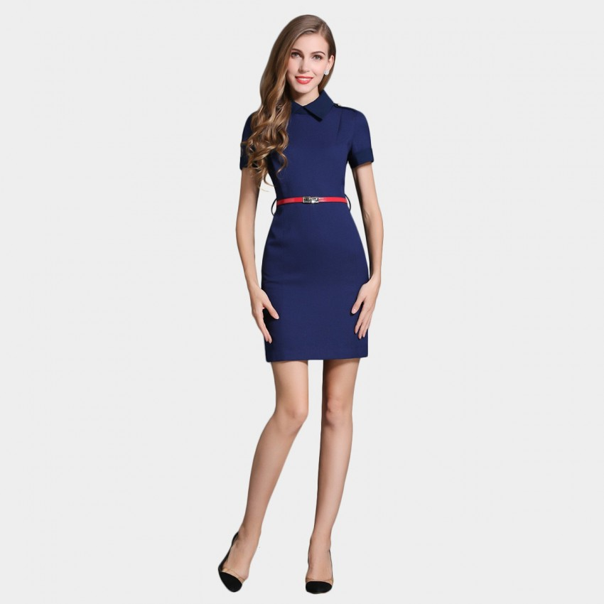 Buy SSXR Short Rolled Sleeves A Line Thigh Length Blue Dress online, shop SSXR with free shipping